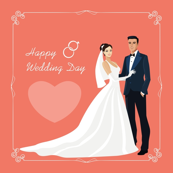 Bride and groom with wedding invitation card vector 01