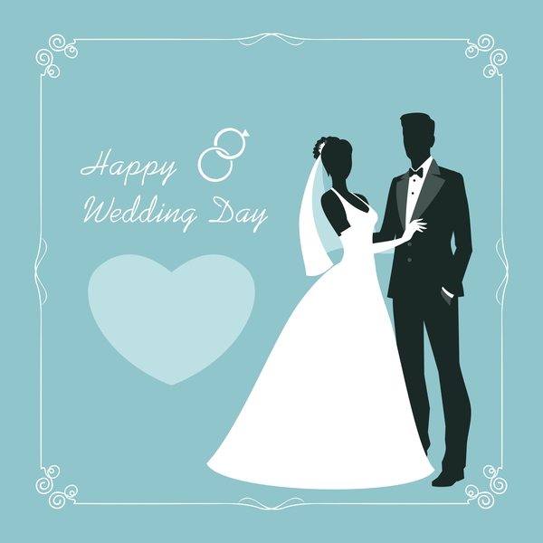 Bride and groom with wedding invitation card vector 02