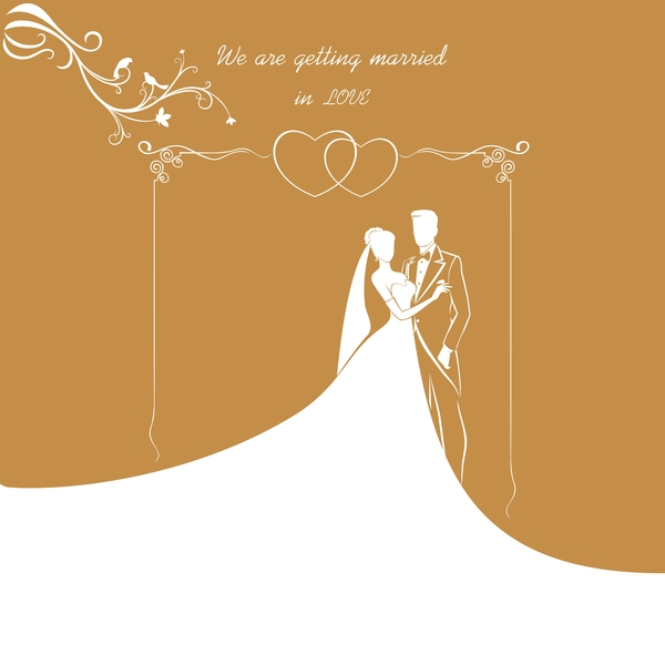 Bride and groom with wedding invitation card vector 03