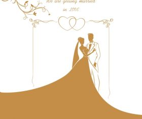 Bride and groom with wedding invitation card vector 04