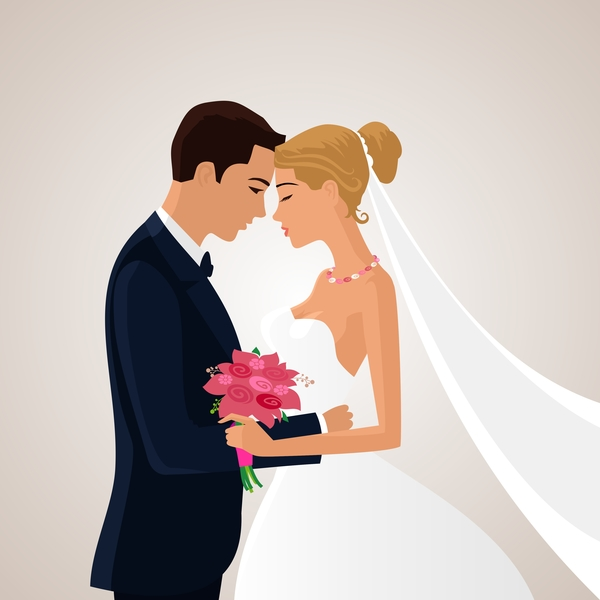 Bride and groom with wedding invitation card vector 05