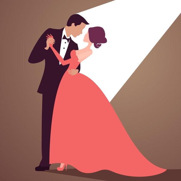 Bride and groom with wedding invitation card vector 06