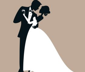 Bride and groom with wedding invitation card vector 07