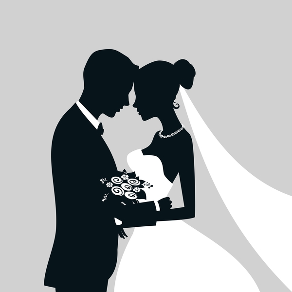 Bride and groom with wedding invitation card vector 08