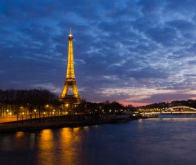 Bright Eiffel Tower at night Stock Photo 01