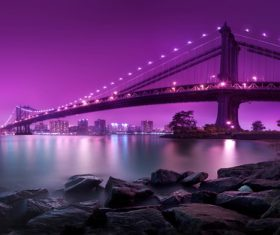 Brightly lit city and bridge Stock Photo 07