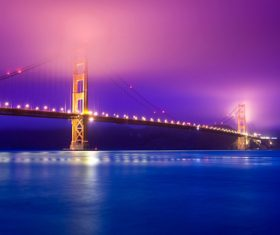 Brightly lit city and bridge Stock Photo 09