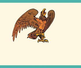 Brown cartoon eagle vector