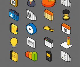Business – isometric outline color icons