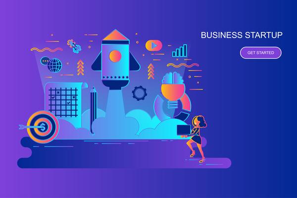 Business startup design concept vector