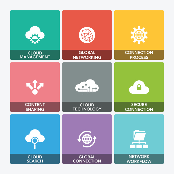 Cloud data technology icons set