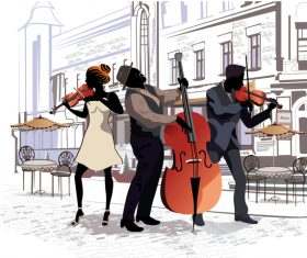 Cafe people with round violinists vector