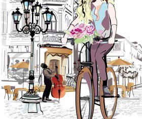 Cafe with girl and bicycle vector