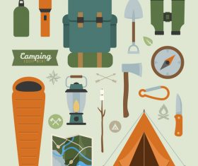 Camping equipment design elements vector set 01