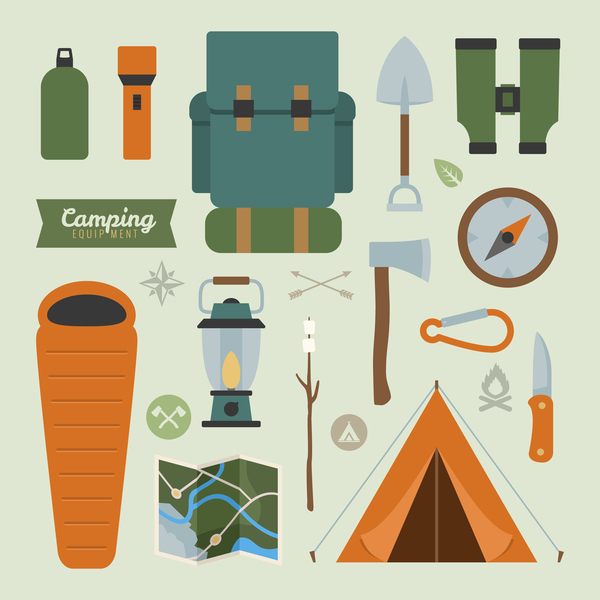 Camping equipment design elements vector set 01