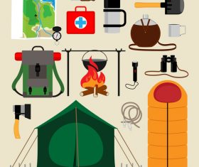 Camping equipment design elements vector set 02