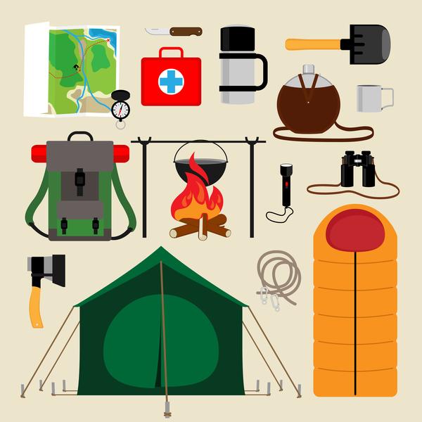 Camping equipment design elements vector set 02