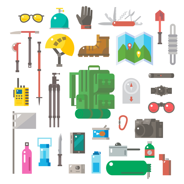 Camping equipment design elements vector set 03