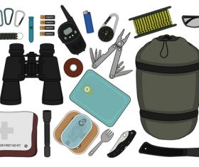 Camping equipment design elements vector set 04