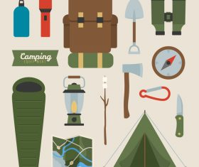 Camping equipment design elements vector set 05
