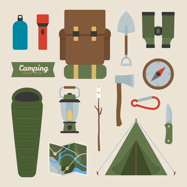 Camping equipment design elements vector set 05