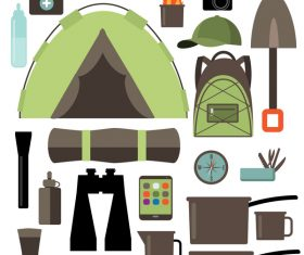 Camping equipment design elements vector set 06