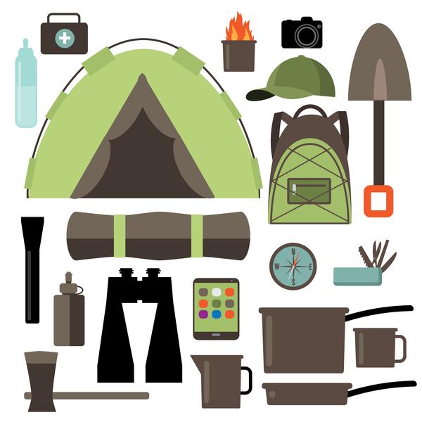 Camping equipment design elements vector set 06