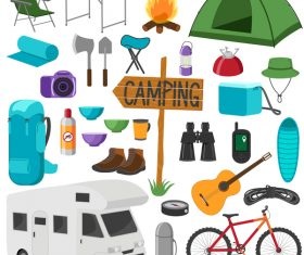 Camping equipment design elements vector set 07