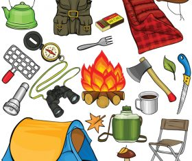 Camping equipment design elements vector set 08