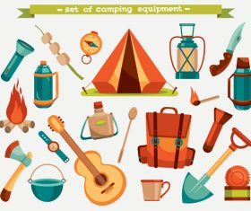 Camping equipment design elements vector set 09