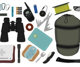 Camping equipment design elements vector set 10