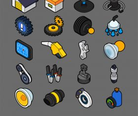 Car Parts and Services – Isometric outline color icons