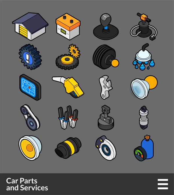 Car Parts and Services   Isometric outline color icons