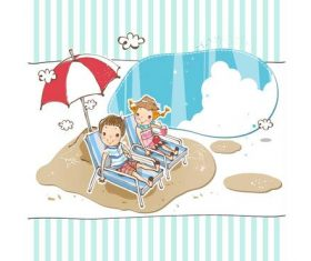 Cartoon Vacation Tourism Poster vector