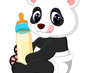 Cartoon animal with a bottle of milk vector image 01