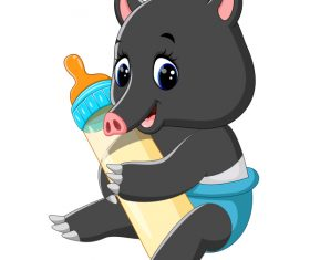 Cartoon animal with a bottle of milk vector image 02