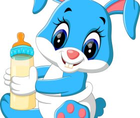 Cartoon animal with a bottle of milk vector image 03