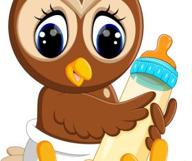 Cartoon animal with a bottle of milk vector image 05