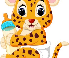 Cartoon animal with a bottle of milk vector image 06