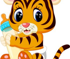 Cartoon animal with a bottle of milk vector image 07