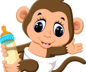 Cartoon animal with a bottle of milk vector image 08