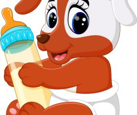 Cartoon animal with a bottle of milk vector image 09