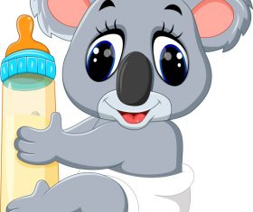 Cartoon animal with a bottle of milk vector image 10