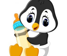 Cartoon animal with a bottle of milk vector image 11