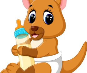 Cartoon animal with a bottle of milk vector image 13