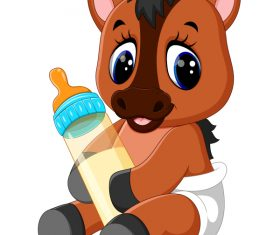 Cartoon animal with a bottle of milk vector image 14