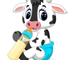 Cartoon animal with a bottle of milk vector image 15