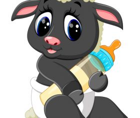 Cartoon animal with a bottle of milk vector image 16