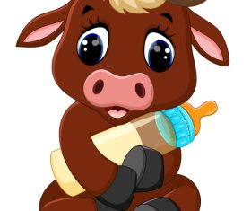 Cartoon animal with a bottle of milk vector image 18