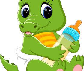 Cartoon animal with a bottle of milk vector image 19